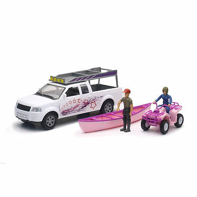 New Ray 1:20 Camping Adventure Pickup with Pink ATV