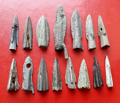 Ancient Celtic or Greek uncleaned bronze arrowheads, about 6 - 4 century BC
