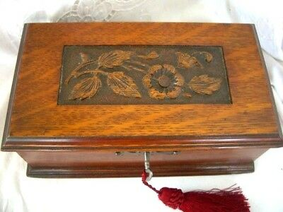 Antique German Black Forest Carved Wood Dresser Jewellery Box with Original Key