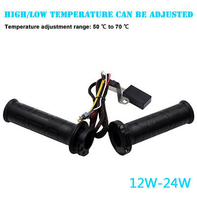 """1 Pair 12W-24W 7/8"""" Adjustable Motorcycle Handlebar Electric Hot Heated Grips"""