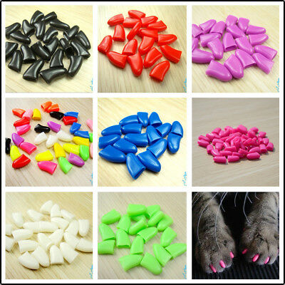 20pcs Soft Pet Cat Nail Caps Claws Cover Control Paw Adhesive Glue Protective EW