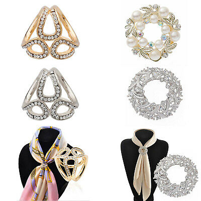 Crystal Pearl Silk Scarf Ring Clip Buckle Holder Brooch Pin Jewelry Gift WomenUK