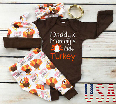 Thanksgiving Baby Boy Girl Romper+Pants Trousers Set Fall Infant Clothes Outfits