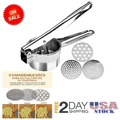 Premium Stainless Steel Mash Potato Ricer Masher/ Fruit Press / Baby Food Strain