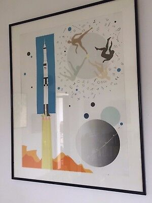 "Raymond LOEWY  lithographie originale signée ""rocket spacial "" Nasa"
