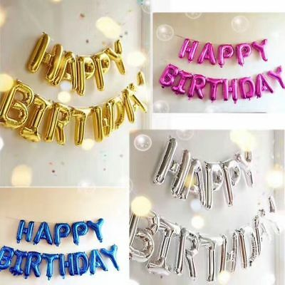 "1pcs 16"" Self Inflating Happy Birthday Banner Foil Balloon Bunting Decoration"