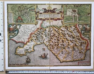 Old Antique Tudor map Glamorganshire, Cardiff Wales: John Speed 1600's Reprint