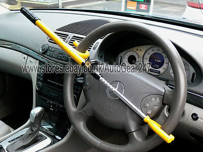 Car Van Adjustable High Security Anti Theft Yellow Steering Wheel Lock Bar