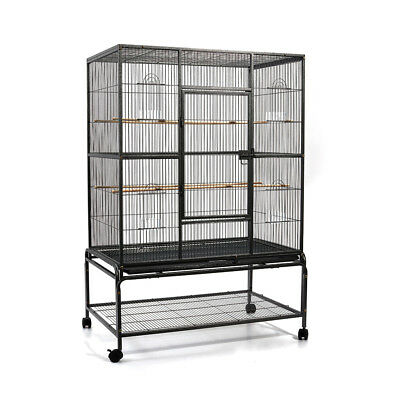 140cm Bird Cage Parrot Aviary Pet Stand-alone Budgie Perch Castor Wheels L @HOT