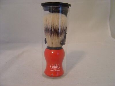 Omega Red Handle Pura Setola Bristle Shaving Brush Made In Italy With Stand
