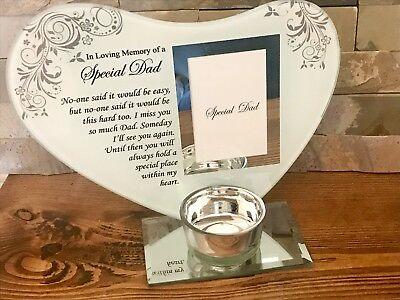 Special Dad Heart Memorial Glass Photo Plaque with Candle Holder Ornament Gift