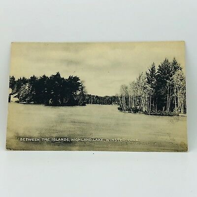 Postcard from 1948 Connecticut Between Islands Highland Lake Winsted CT B-6a