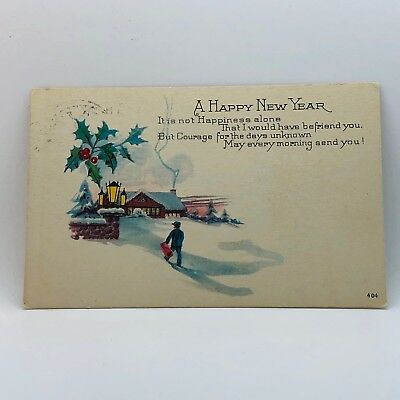 Postcard from 1925 A Happy New Year Poem Winter Scene Holly Berries B-5k