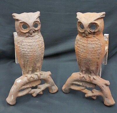 Antique Pair of Solid Cast Iron Large Owl Andirons Firewood Holder