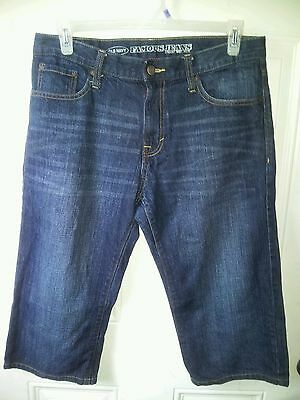 "Old Navy men/boys dark blue straight leg jean sz33 altered 19""little people MINT"