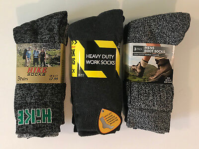 3 Pairs Mens Extra Thick Warm Work Boot And Hike Socks 6-11