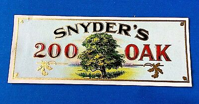 """Snyder's"" 200 Oak Embossed Cigar Box Label (for inside of lid)"
