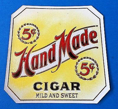 """Hand Made"" Embossed Cigar Box Label (for inside of lid)"