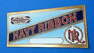 """Navy Ribbon"" Embossed Cigar Box Label (for inside of lid)"