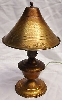 Arts & Crafts Antique Mission Table Accent Lamp Hand Hammered Brass Patina Old