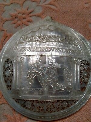 Bethlehem Holy land mother of pearl shell carving Christ On The Cross Last Sup