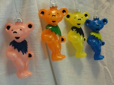 Grateful Dead Dancing Bear 4 Pc Ornament Set