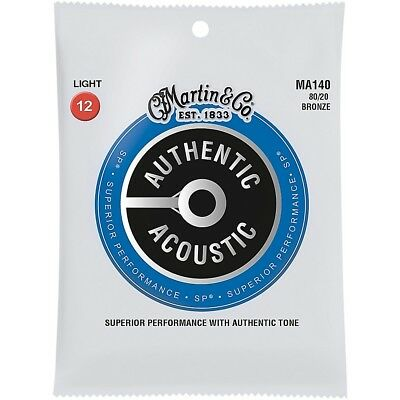 Martin MA140 SP 80/20 Bronze Light Authentic Acoustic Guitar Strings