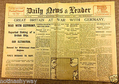 1914 World War I Outbreak Newspaper Britain Declares War Nazi Germany II Antique