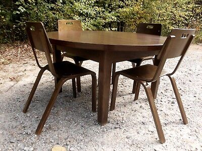 Vintage Mid Century Thonet Childs Table & 4 Bentwood Chairs