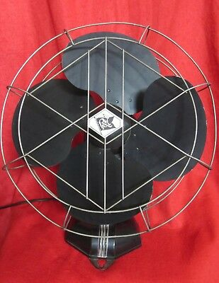 """Rare Vintage ROBBINS & MYERS 14"""" Art Deco Large Oscillating Fan 8978 Working !!"""