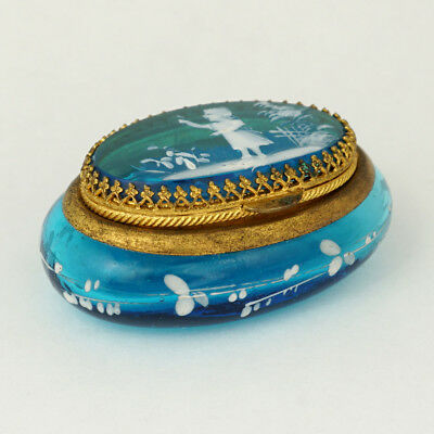 Antique Victorian Enamel Electric Blue Glass Hinged Patch Box Mary Gregory Style