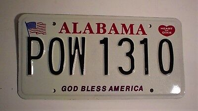 Alabama POW License Plate  1310 God Bless America Heart of Dixie Embossed