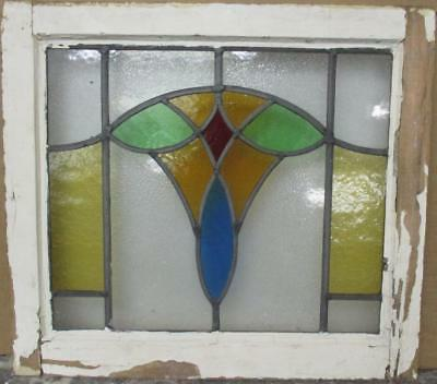 "OLD ENGLISH LEADED STAINED GLASS WINDOW Colorful Abstract Design 20.75"" x 18.75"""