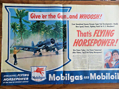 1945 Mobil Oil Gas Ad WW 2 Fighter Airplanes Giv'er the Gun & Whoosh