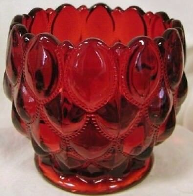 Candy Dish Rose Bowl - Elizabeth Quilted - Mosser USA - Red Glass
