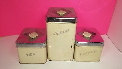 Mid Century Modern Atomic Kitchen Canister Set - Coffee Flour Tea Vintage 1950s