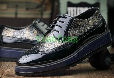 Brogue Mens Lace Up Wedge Heel Carved Shoes Breathable Business Leisure 2018 Hot