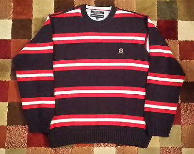 a7e9a1b5 MENS TOMMY HILFIGER Navy Blue Red White Striped Chunky Knit Cardigan ...