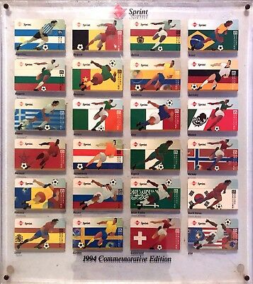 Soccer: $25 World Cup 1994 (Expired 12/94) Set of 24 Different Phone Card Framed