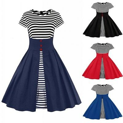 Women Striped Navy Style Dress Retro Classic Prom 50s 60s Vintage Pin Up Black