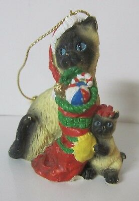 Siamese Cat With her Kitten   - Cat Christmas Ornament - Blue Eyed