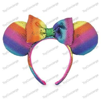 DISNEY Parks EAR HEADBAND Adult RAINBOW Multi Color Sequin MINNIE Mouse NWT