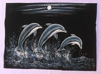 Very Beautiful Vintage Hand Painting Water Color Velvet Cloth Fish Art Painting