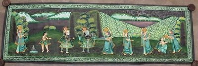 Very Beautiful Vintage Hand Painting Radha Krishna Water Color Cloth Painting 13
