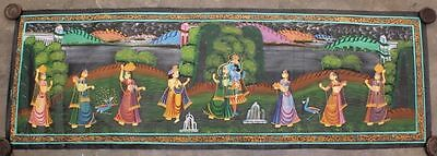 Very Beautiful Vintage Hand Painting Radha Krishna Water Color Cloth Painting 12