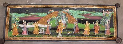 Very Beautiful Vintage Hand Painting Radha Krishna Water Color Cloth Painting 06