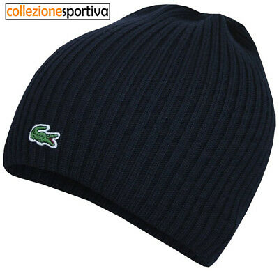 CAPPELLO BERRETTO LACOSTE RIBBED WOOL BEANIE - RB3504-00-166 col. blu navy