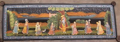 Very Beautiful Vintage Hand Painting Radha Krishna Water Color Cloth Painting 22