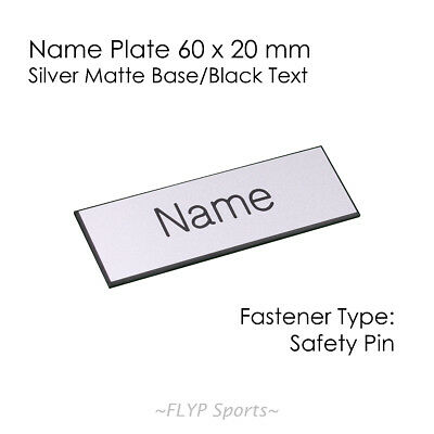 Name Badge Tag Plate Silver Matte/Black Safety Pin 6x2cm Personalised Engrave...