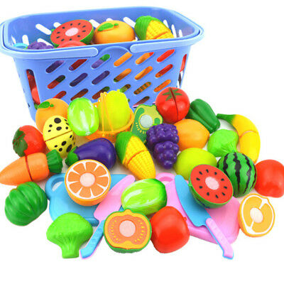 Baby Kids Pretend Role Play Kitchen Fruit Vegetable Food Toy Cutting Set Gift UK